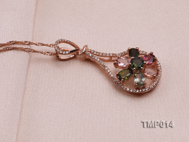 40x18mm Natural Tourmaline Pieces Pendant with Sterling Silver Pendant Bail big Image 2