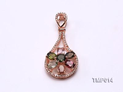 40x18mm Natural Tourmaline Pieces Pendant with Sterling Silver Pendant Bail TMP014 Image 1