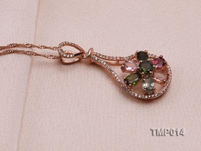 40x18mm Natural Tourmaline Pieces Pendant with Sterling Silver Pendant Bail TMP014 Image 2
