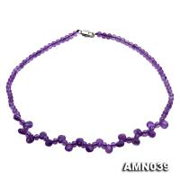Round and Drop-shaped Amethyst Beads Necklace AMN039