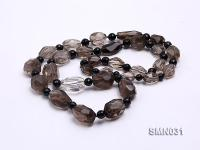 15x11-22x15mm Irregular Faceted Smoky Quartz Beads Necklace SMN031
