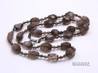 20x17mm Irregular Faceted Smoky Quartz Beads Necklace SMN032