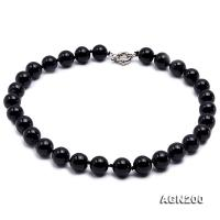 14.5mm Black Round Agate Necklace  AGN200