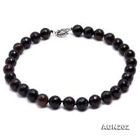 14.5mm Black Round Faceted Agate Necklace AGN202