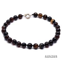 14mm Black Round Faceted Agate Necklace AGN203