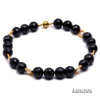 19.5mm Black Round Faceted Agate Necklace  AGN205