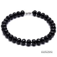 18.5x12mm Black Wheel-shaped Faceted Agate Necklace AGN206
