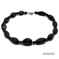 20x15-30x20mm Black Faceted Agate Necklace  AGN208