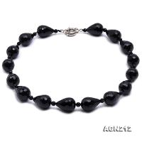 23x18mm Black Drop-shaped Faceted Agate Necklace AGN212