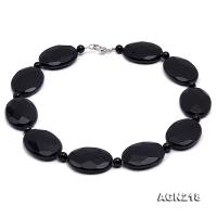 30x40mm Black Oval Faceted Agate Necklace AGN218