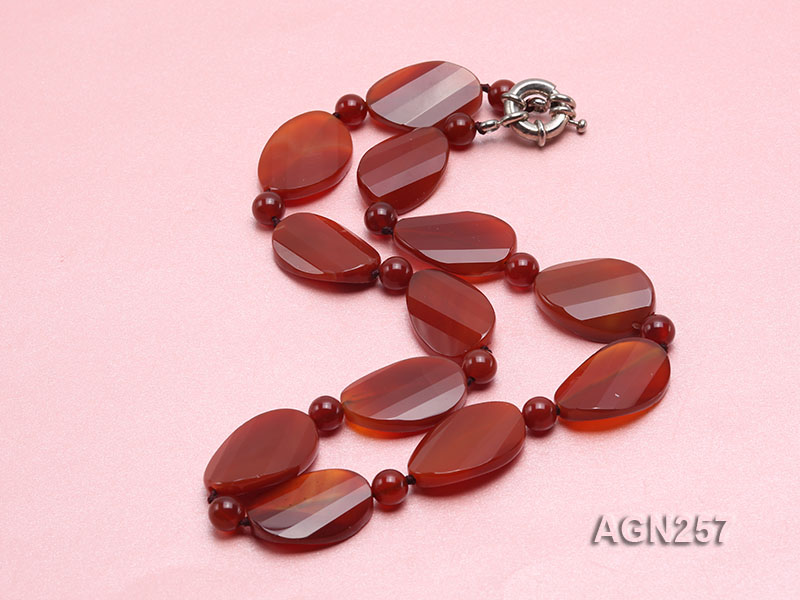 28x20mm Red Irregular Faceted Agate Necklace  big Image 2