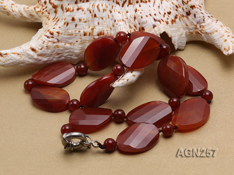 28x20mm Red Irregular Faceted Agate Necklace  big Image 3