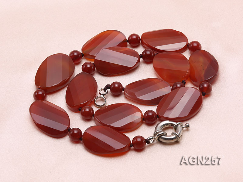 28x20mm Red Irregular Faceted Agate Necklace  big Image 4