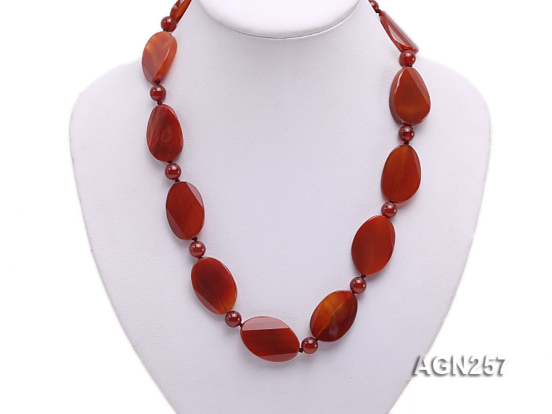 28x20mm Red Irregular Faceted Agate Necklace  big Image 5