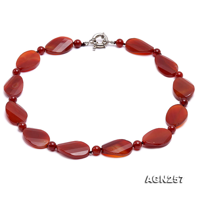 28x20mm Red Irregular Faceted Agate Necklace  big Image 1