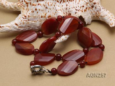 28x20mm Red Irregular Faceted Agate Necklace  AGN257 Image 3