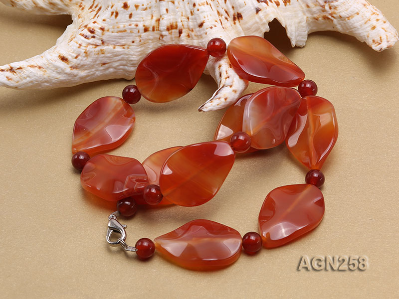 34x23mm Red Irregular Faceted Agate Necklace  big Image 3