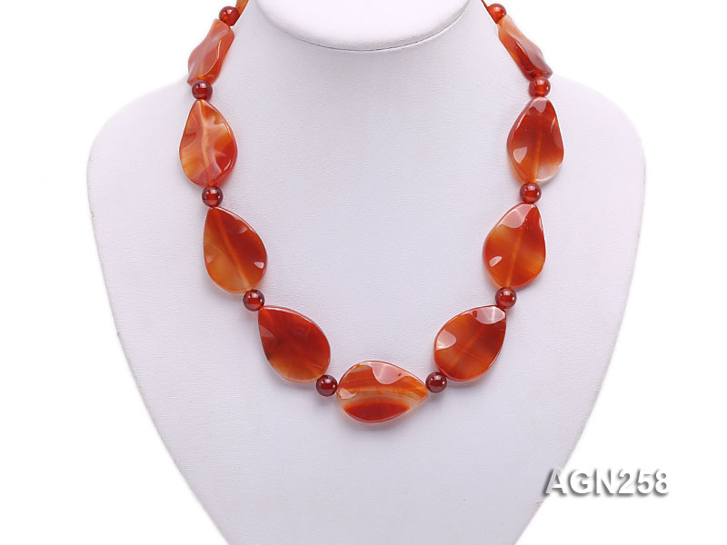 34x23mm Red Irregular Faceted Agate Necklace  big Image 4