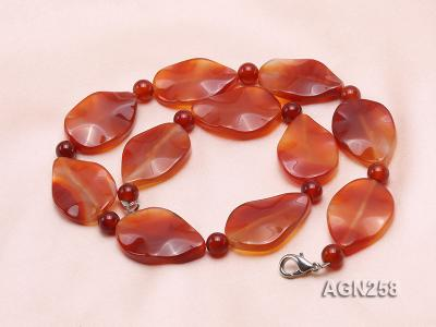 34x23mm Red Irregular Faceted Agate Necklace  AGN258 Image 2