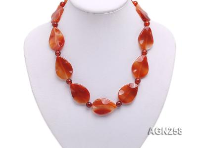 34x23mm Red Irregular Faceted Agate Necklace  AGN258 Image 4