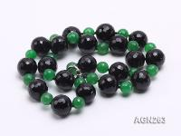 20mm Black Faceted Agate and Malay Jade Necklace AGN263