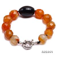 15-17mm Orange Round Faceted Agate Bracelet AGB041