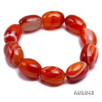 21x15mm Red Oval Agate Bracelet AGB043