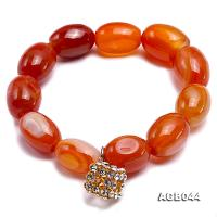 19x13.5mm Orange Oval Agate Bracelet AGB044
