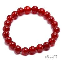 9mm Red Round Agate Bracelet AGB047