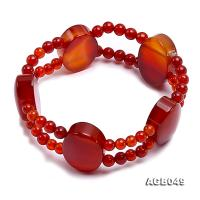 Double-row 5mm Red Agate Bracelet AGB049