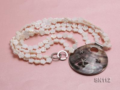 10mm White Shell Pieces Necklace SN112 Image 1