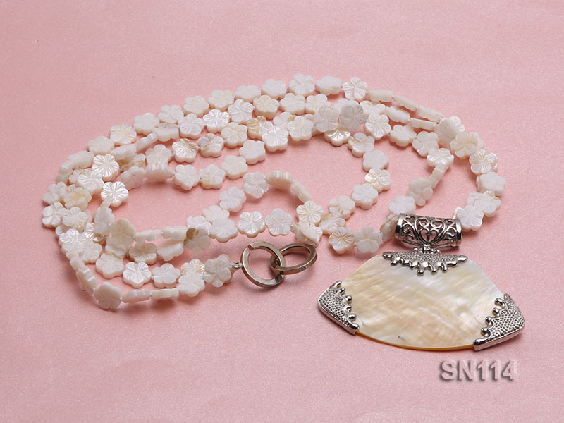 10mm White Shell Pieces Necklace big Image 1