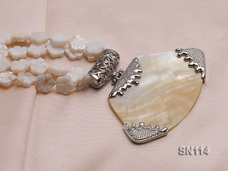 10mm White Shell Pieces Necklace big Image 3