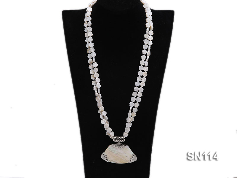10mm White Shell Pieces Necklace big Image 4
