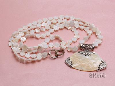 10mm White Shell Pieces Necklace SN114 Image 1