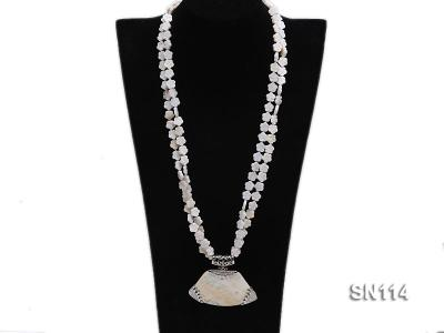 10mm White Shell Pieces Necklace SN114 Image 4