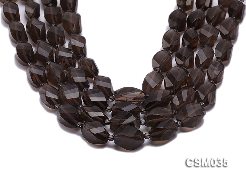 Wholesale 12x20mm Irregular Faceted Smoky Quartz Pieces Loose String big Image 1