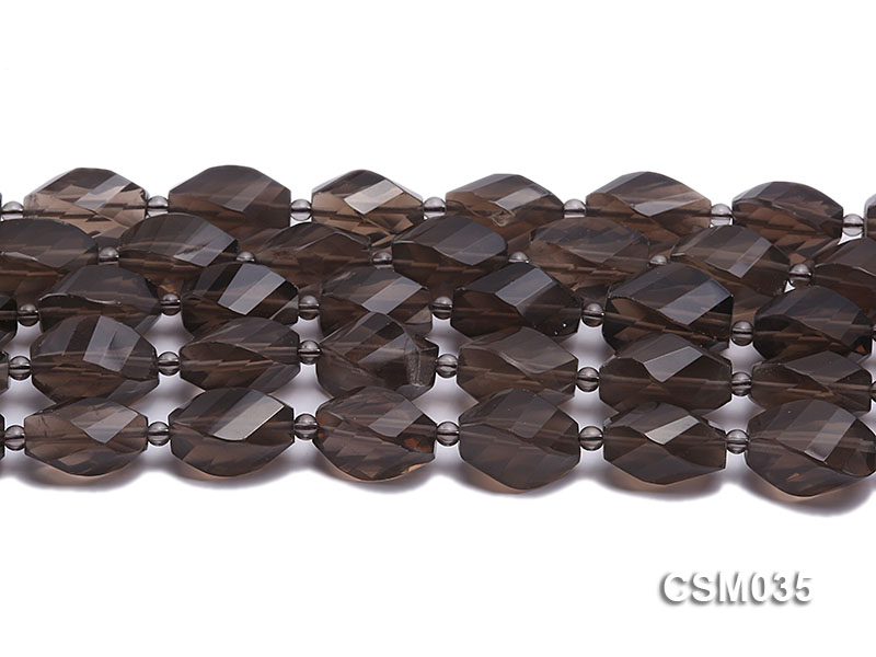 Wholesale 12x20mm Irregular Faceted Smoky Quartz Pieces Loose String big Image 2