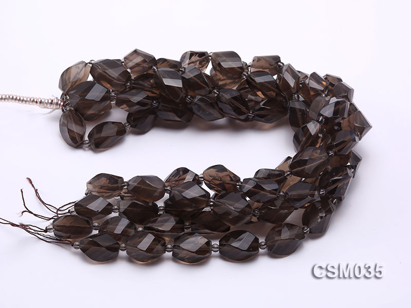 Wholesale 12x20mm Irregular Faceted Smoky Quartz Pieces Loose String big Image 3