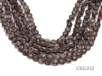 Wholesale 10mm Button-shaped Faceted Smoky Quartz Beads Loose String CSM043