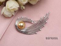 13mm South Sea Golden Pearl Brooch Set on Sterling Silver Bail with Zircons SSPB006