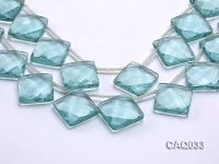 Wholesale 25mm Square Faceted Simulated Aquamarine Pieces Loose String CAQ033