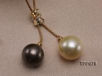 Golden South Sea Pearl and Black Tahitian Pearl Pendant with 18K Gold Bail & Chain TPP079