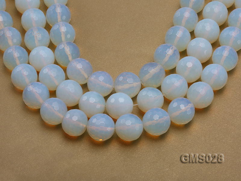 Wholesale 19m Round Milky Faceted Moonstone Beads Loose String big Image 1