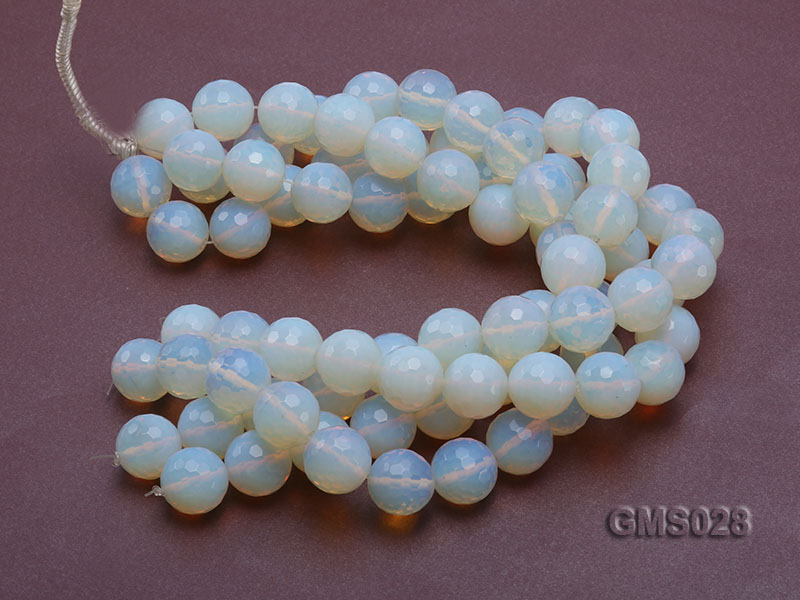 Wholesale 19m Round Milky Faceted Moonstone Beads Loose String big Image 3