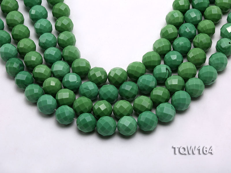 Wholesale 16mm Round Green Faceted Turquoise Beads Loose String big Image 1