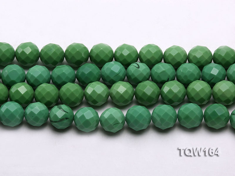 Wholesale 16mm Round Green Faceted Turquoise Beads Loose String big Image 2