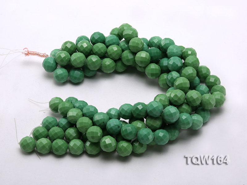 Wholesale 16mm Round Green Faceted Turquoise Beads Loose String big Image 3