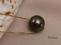 12mm Black Tahitian Pearl Pendant with 18k Gold Chain  TPP085