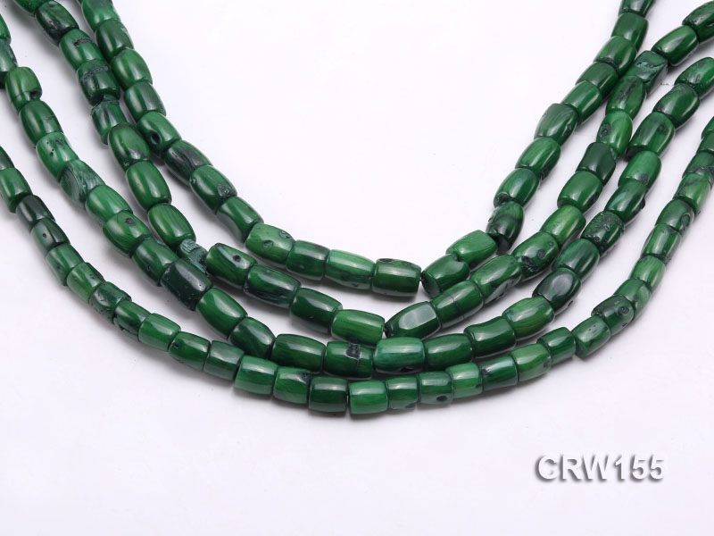 Wholesale 8x10mm Pillar-shaped Green Coral Beads Loose String big Image 1